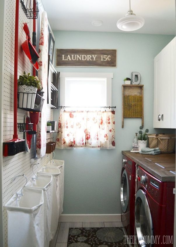 s 11 easy updates that will make you love your laundry room, laundry rooms, Put up a full wall of pegboard