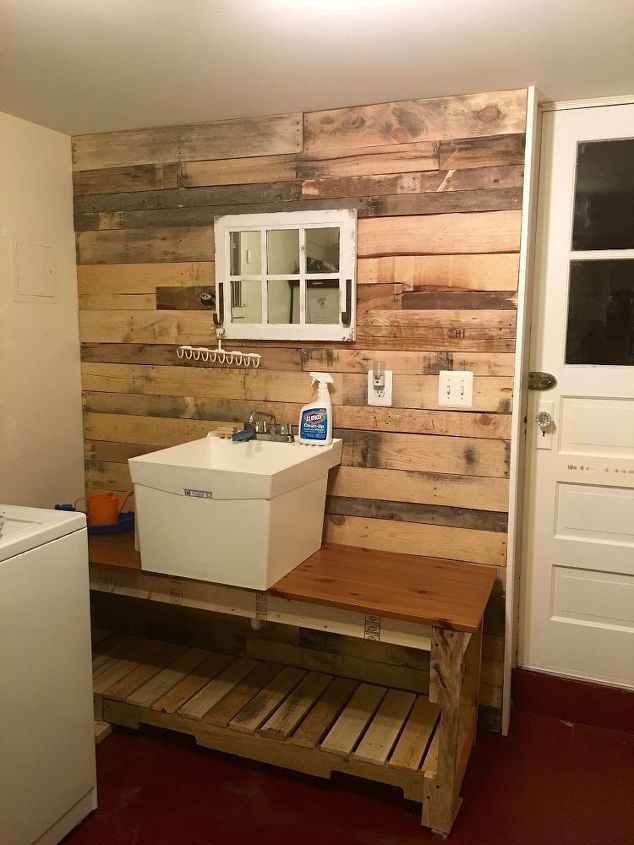 s 11 easy updates that will make you love your laundry room, laundry rooms, Give the space a rustic touch with pallets