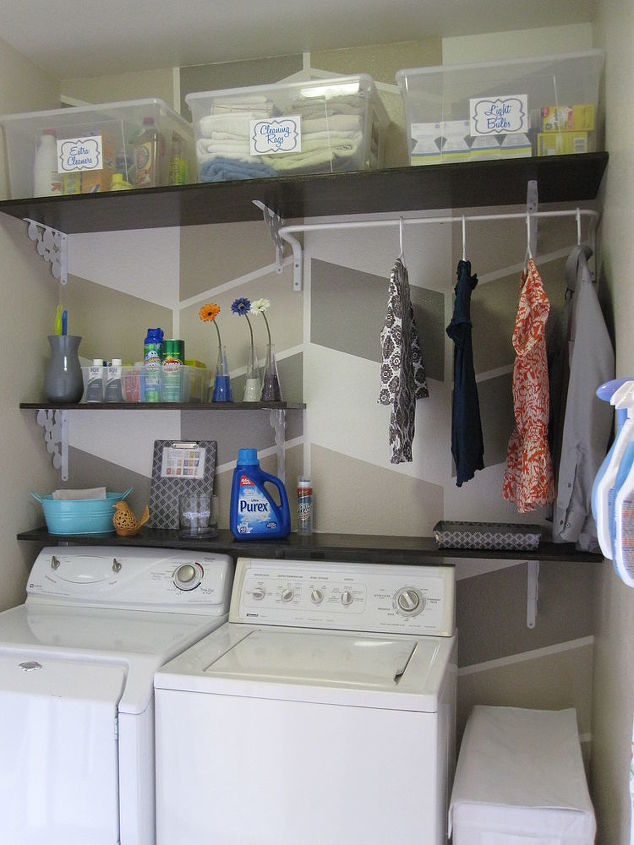 s 11 easy updates that will make you love your laundry room, laundry rooms, Hang up some open shelving