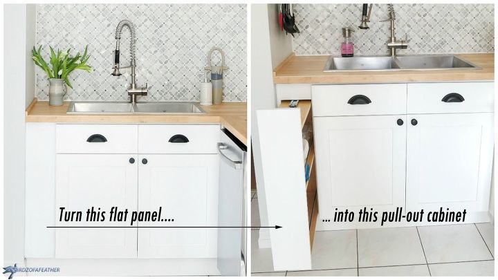 Hidden Kitchen Storage: Turn a Filler Panel Into a Pull-Out Cabinet on kitchen window lighting ideas, kitchen window backsplash ideas, kitchen window seating ideas, kitchen window casing ideas, kitchen window cabinet ideas, kitchen window shelf ideas, kitchen window decor ideas,