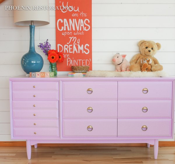 Mid Century Nursery Dresser In Lilac Bedroom Ideas Painted Furniture