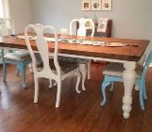 refurbished dining chairs, painted furniture, reupholster