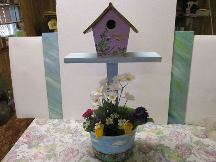 re purposed 5 qt icecream tub flower pot mini plant stand, container gardening, crafts, gardening, repurposing upcycling