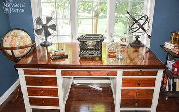 vintage desk makeover, chalk paint, home office, painted furniture, repurposing upcycling