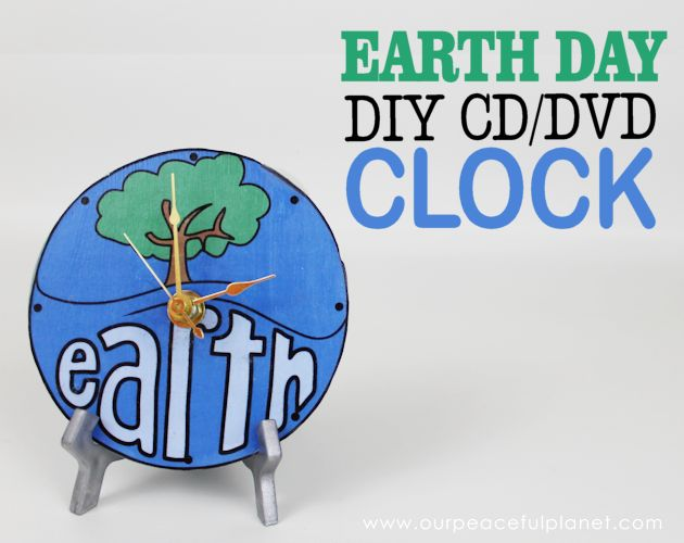 earth day clock upcycle from cd dvd, crafts, decoupage, how to, repurposing upcycling, seasonal holiday decor
