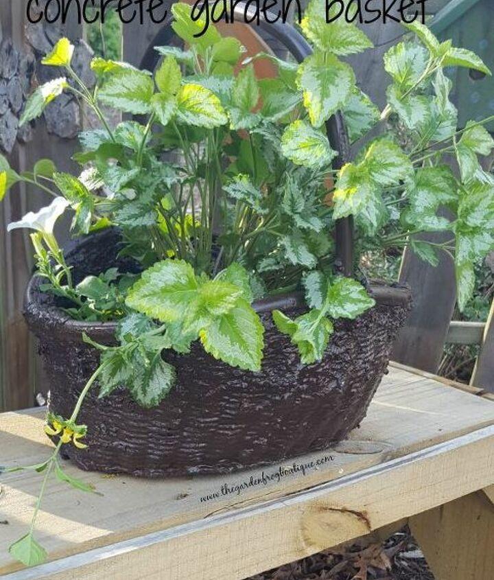 turn your wicker basket into a hypertufa concrete garden basket, concrete masonry, container gardening, crafts, gardening, repurposing upcycling