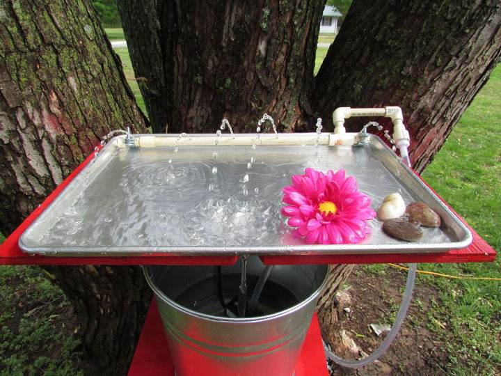 making a hummingbird water and bathing tray out of a cookie sheet, animals, how to, pets animals, ponds water features, repurposing upcycling