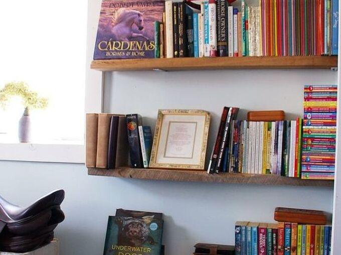 easy barn wood book shelves, diy, shelving ideas