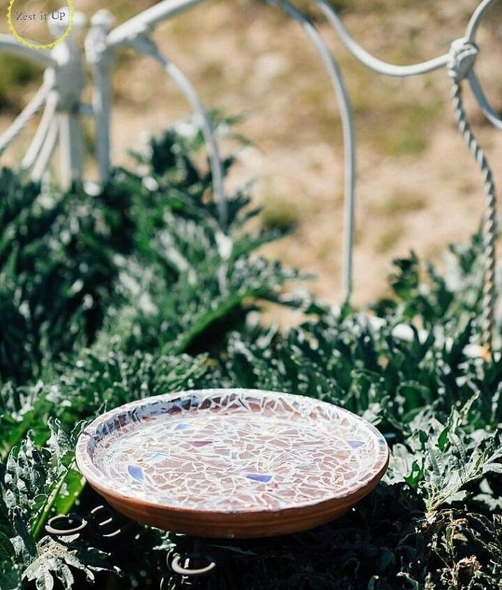 s 13 awesome ways to reuse a terra cotta saucer, container gardening, gardening, repurposing upcycling, Line one with broken CD s for the birds