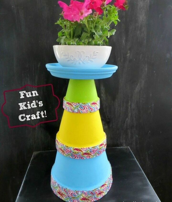 s 13 awesome ways to reuse a terra cotta saucer, container gardening, gardening, repurposing upcycling, Stack a colorful planter tower