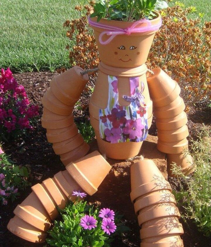 s 13 awesome ways to reuse a terra cotta saucer, container gardening, gardening, repurposing upcycling, Put together a fun pot girl for the garden