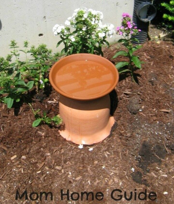 s 13 awesome ways to reuse a terra cotta saucer, container gardening, gardening, repurposing upcycling, Make a simple bird bath with a saucer pot