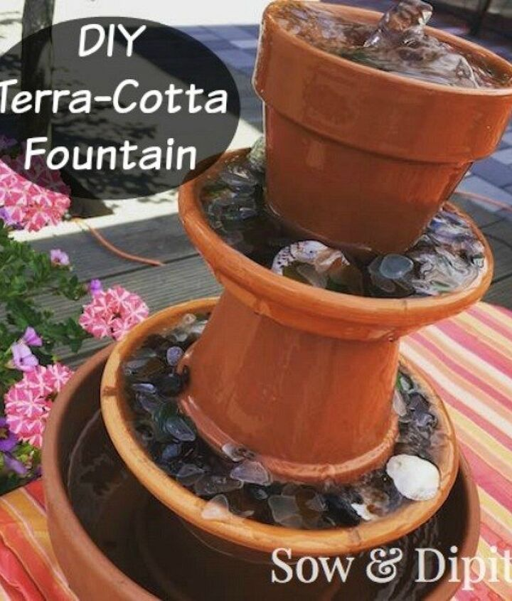 s 13 awesome ways to reuse a terra cotta saucer, container gardening, gardening, repurposing upcycling, Turn saucers pots into a bubbling fountain