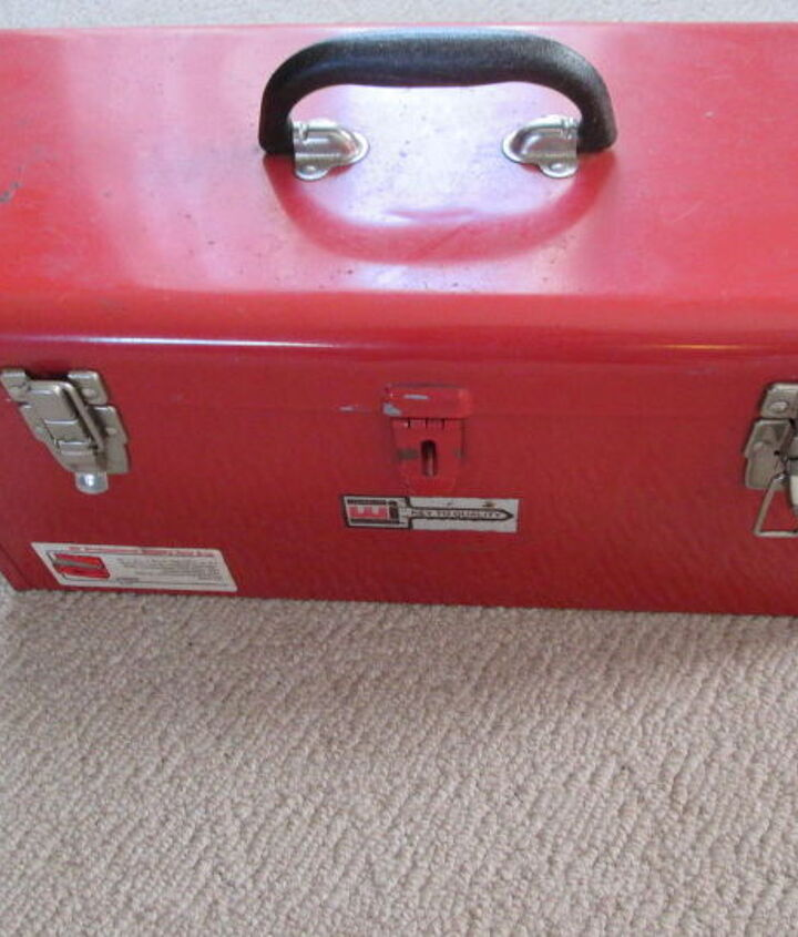 old tool box turned crafting wrapping station storage, craft rooms, crafts, organizing, repurposing upcycling, storage ideas