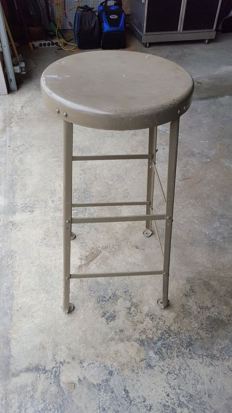 q upcycle metal stool to patio table, painted furniture, painting over finishes, repurposing upcycling, tiling, Stool