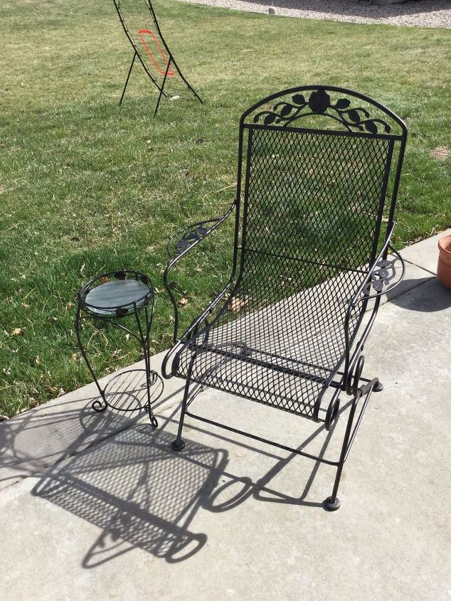 repurposed plant stand and updated patio furnature, outdoor furniture, painted furniture, repurposing upcycling