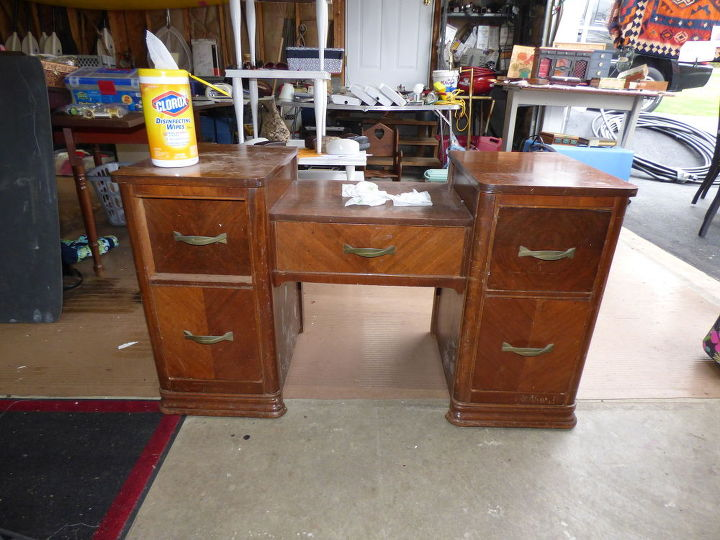 vanity brought back to it s original beauty, home office, painted furniture
