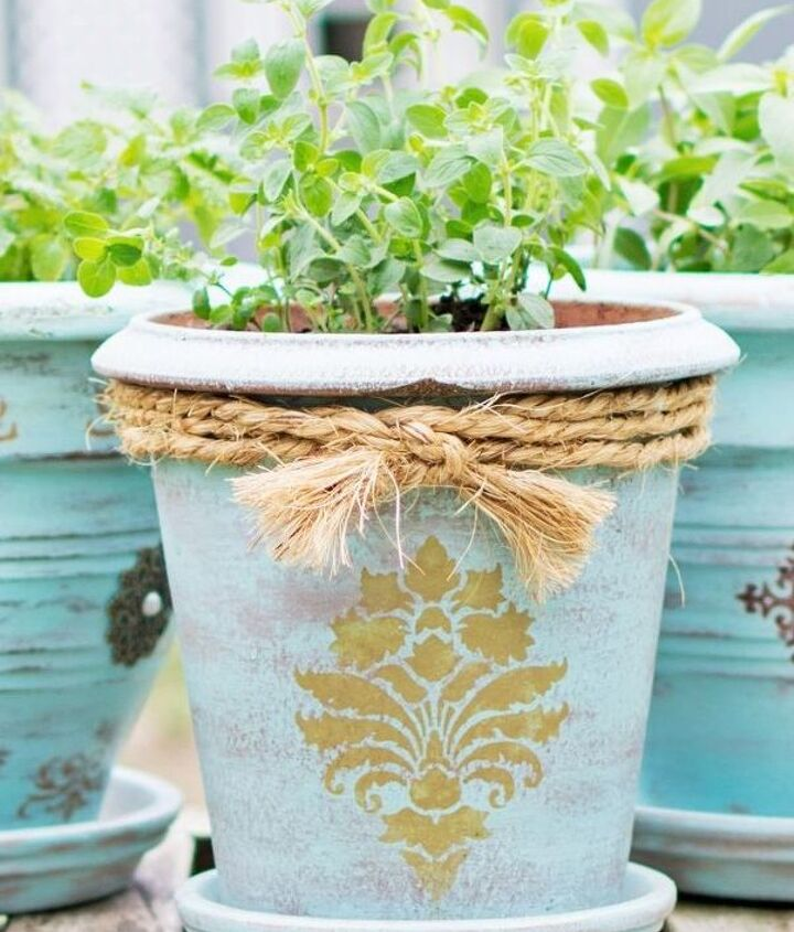diy flower pot makeover, chalk paint, container gardening, crafts, gardening