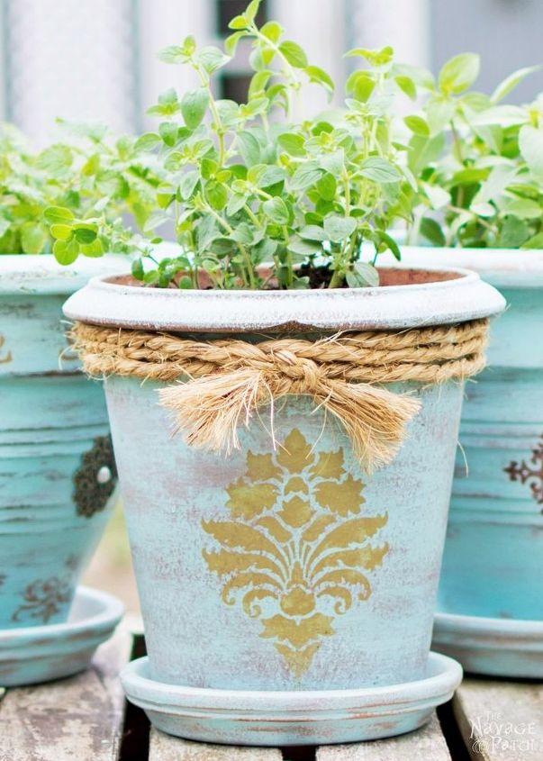 diy flower pot makeover, chalk paint, container gardening, crafts, gardening
