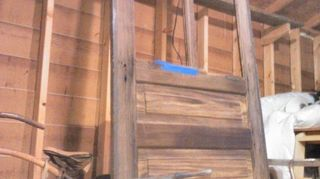 , Very Old Work Shop Handmade Door With Tongue and Groove Slats