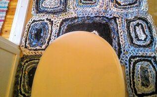 finger crochet toilet rug, bathroom ideas, crafts, repurposing upcycling, reupholster