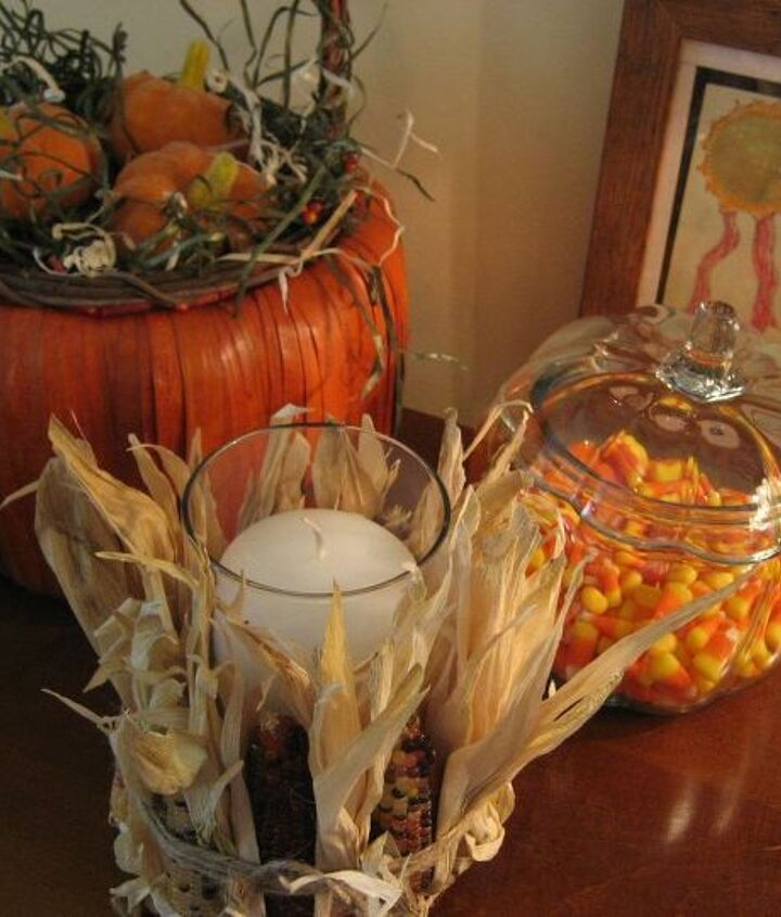 easy and inexpensive pottery barn inspired indian corn candle, crafts, seasonal holiday decor