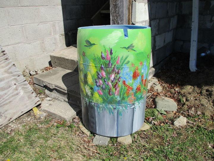 re purposed 55 gallon vinegar barrel now rain water collector, gardening, go green, homesteading