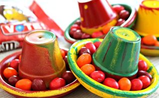 cinco de mayo terra cotta pot hats, crafts, repurposing upcycling, seasonal holiday decor
