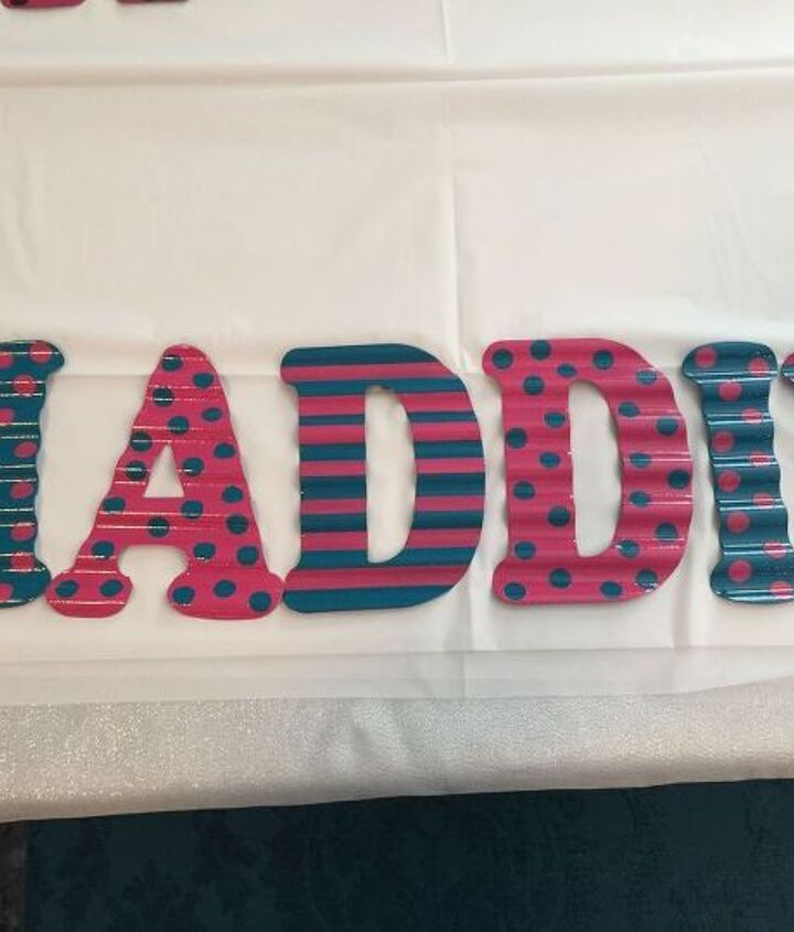 galvanized metal painted child s name, crafts