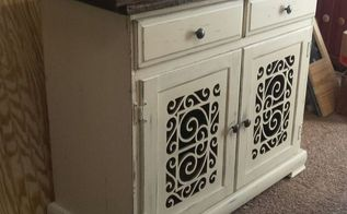 before and after cabinet makeover with scrollwork doors, diy, doors, kitchen island, pallet, repurposing upcycling