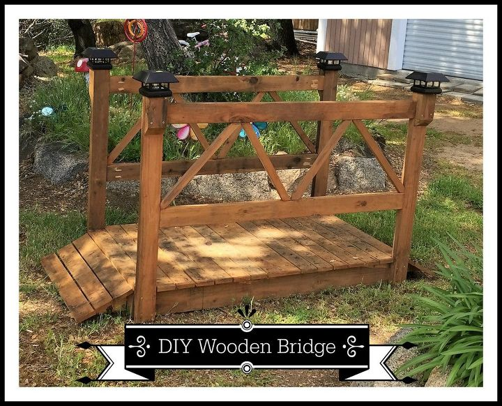 diy wood garden bridge, diy, how to, outdoor furniture, outdoor living, woodworking projects