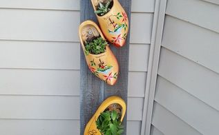 dutch shoe heaven , container gardening, gardening, outdoor furniture, repurposing upcycling