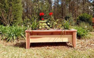 raised cedar planter, container gardening, gardening, outdoor furniture, raised garden beds