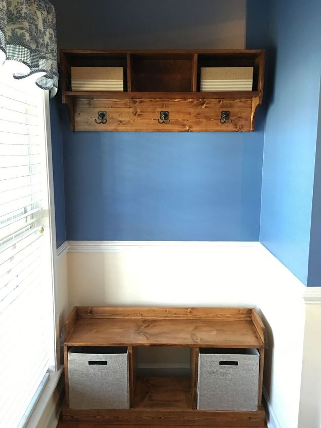 entryway bench and coat shelf, foyer, shelving ideas, storage ideas