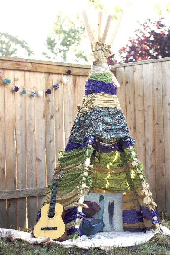 s 15 budget outdoor updates to turn your yard into a relaxing getaway, outdoor furniture, outdoor living, Turn fabric scraps into a boho teepee