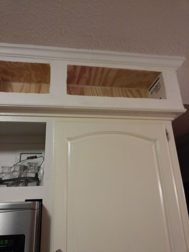 from outdated soffits to usable space, kitchen cabinets, kitchen design, shelving ideas, storage ideas