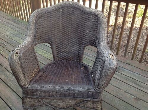 Former owners left a pair of rocking chairs on the porch  can I fix the  gaps in the arms  I would love to salvage it or should I trash it. Should I repair or recover the arms of these wicker chairs    Hometalk