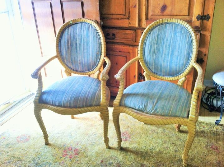 vintage drexel rope and tassel arm chair makeover, painted furniture, reupholster