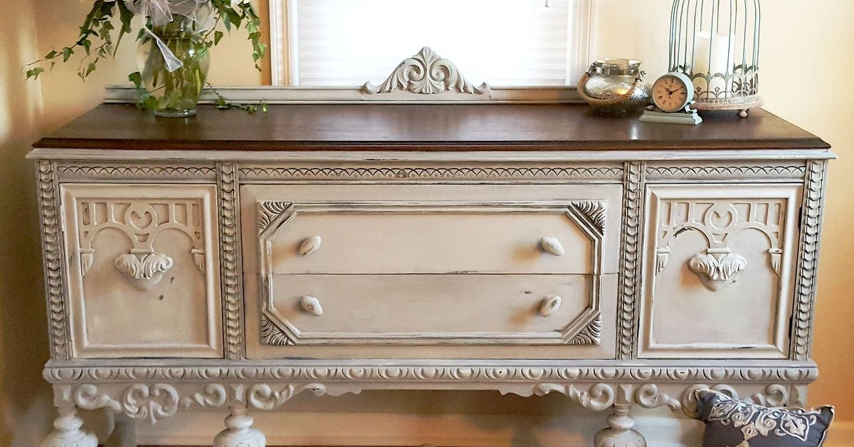 Plain Old Brown Jacobean Buffet To Beautiful Buffet Hometalk