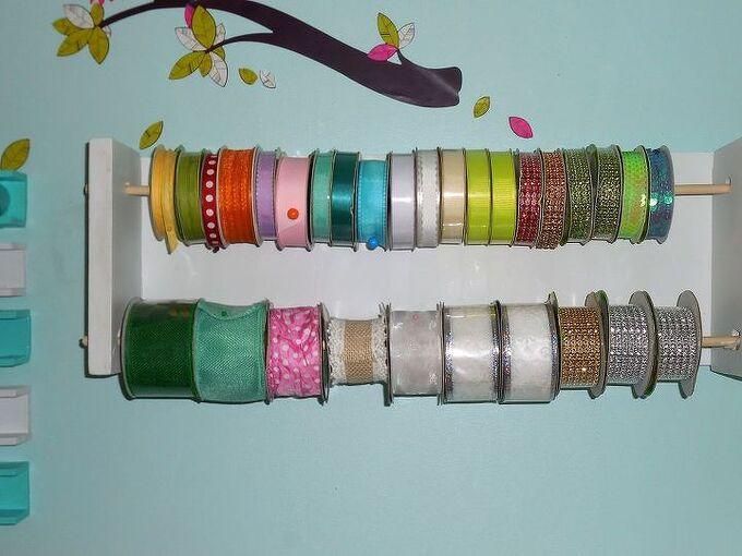 diy ribbon holder, craft rooms, crafts, organizing, storage ideas