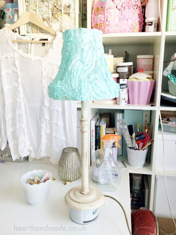 How to make shabby chic lamp shades easy craft ideas how to make a shabby chic lampshade and distressed lamp base hometalk mozeypictures Gallery