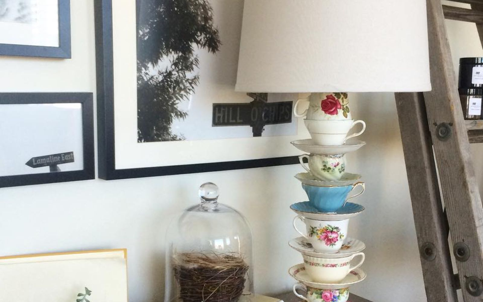 s don t ditch your broken teacups til you see what people do with them, repurposing upcycling, Stack cups and saucers into a whimsical lamp