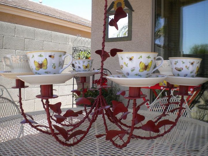 s don t ditch your broken teacups til you see what people do with them, repurposing upcycling, Use a whole set for an outdoor chandelier