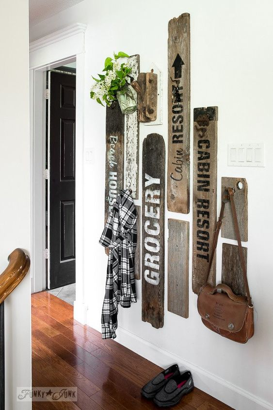 coat hanging made beautiful and fun thanks to a few old boards , storage ideas, wall decor