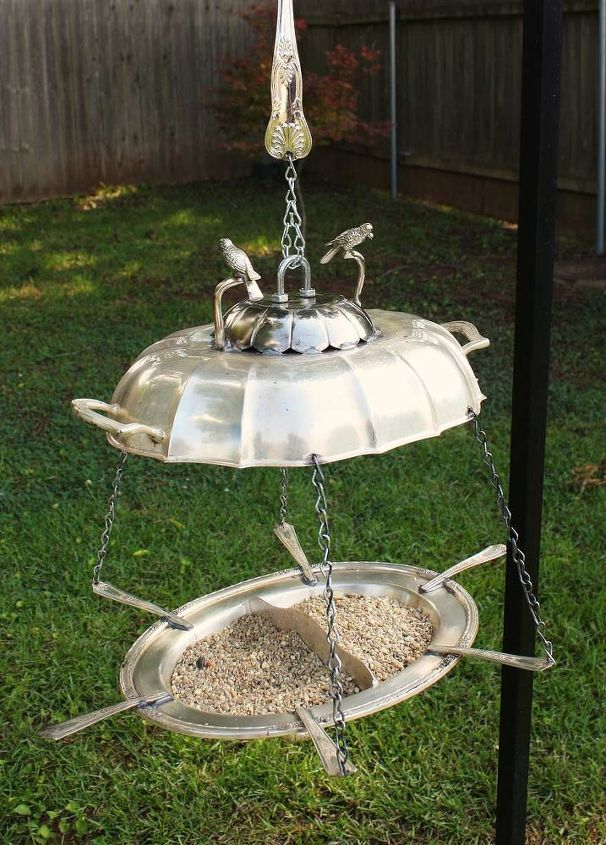 s 17 adorable birdfeeders using things you already own, outdoor living, repurposing upcycling, Hang some old silver serving platters