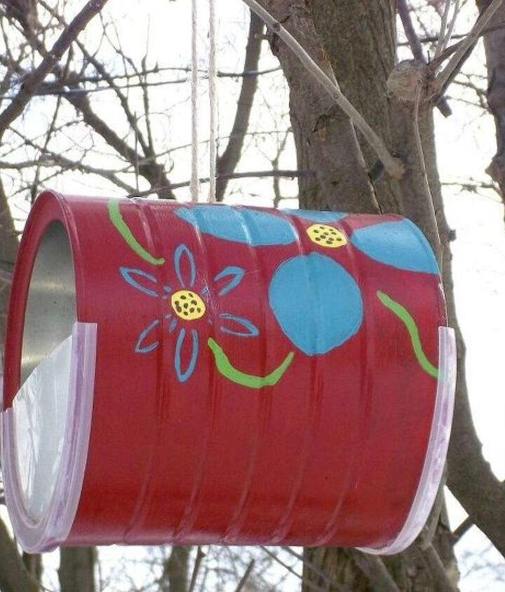 s 17 adorable birdfeeders using things you already own, outdoor living, repurposing upcycling, Paint an old coffee can and hang it up