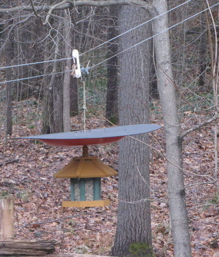 s 17 adorable birdfeeders using things you already own, outdoor living, repurposing upcycling, Use a saucer sled for a squirrel free feeder