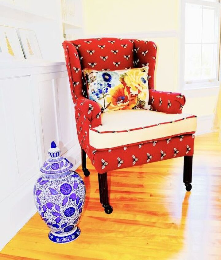 diy wing back chair reupholster, painted furniture, reupholster