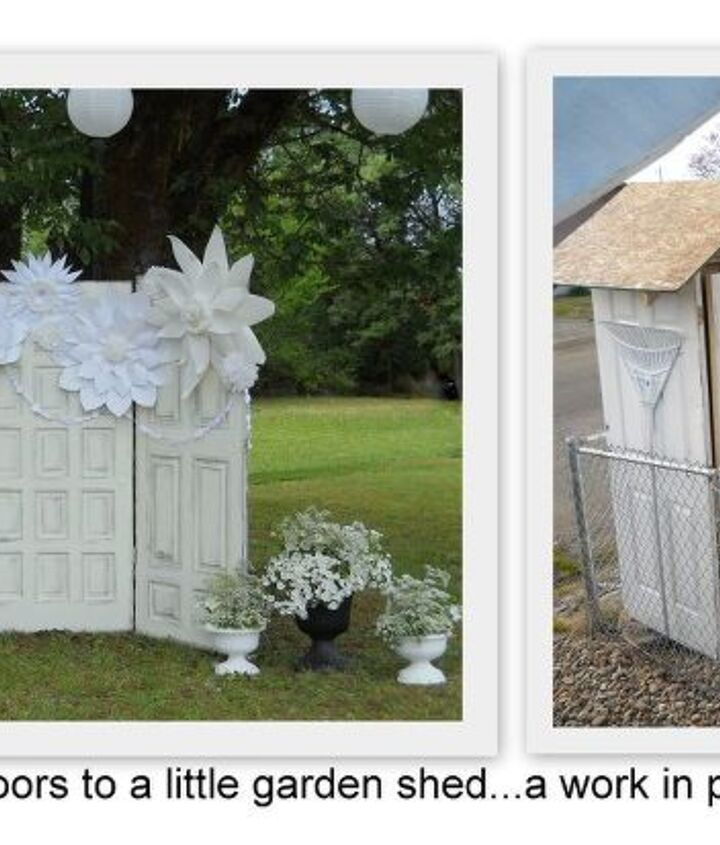 a living roof for our garden shed made from wedding doors, gardening, outdoor living, roofing