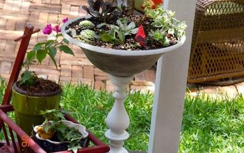 light fixture broken fan to a planter, container gardening, gardening, repurposing upcycling